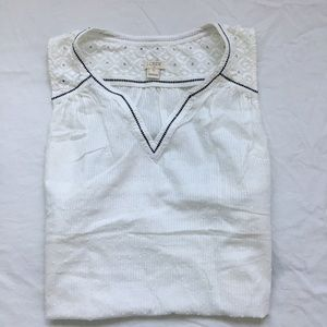 J.Crew white top with black line, size 0